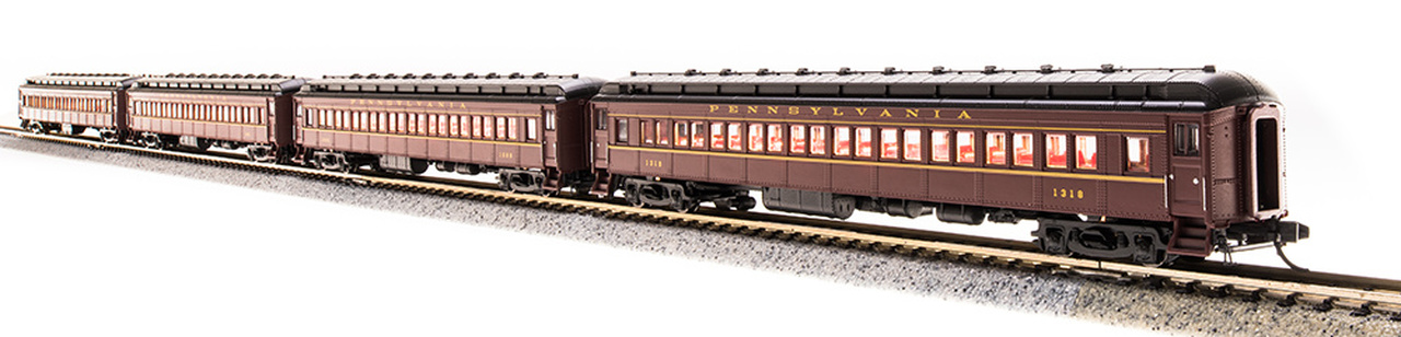 N Scale - Broadway Limited - 3767 - Passenger Car, Heavyweight, Pennsy P70 Coach - Pennsylvania - 4-Pack