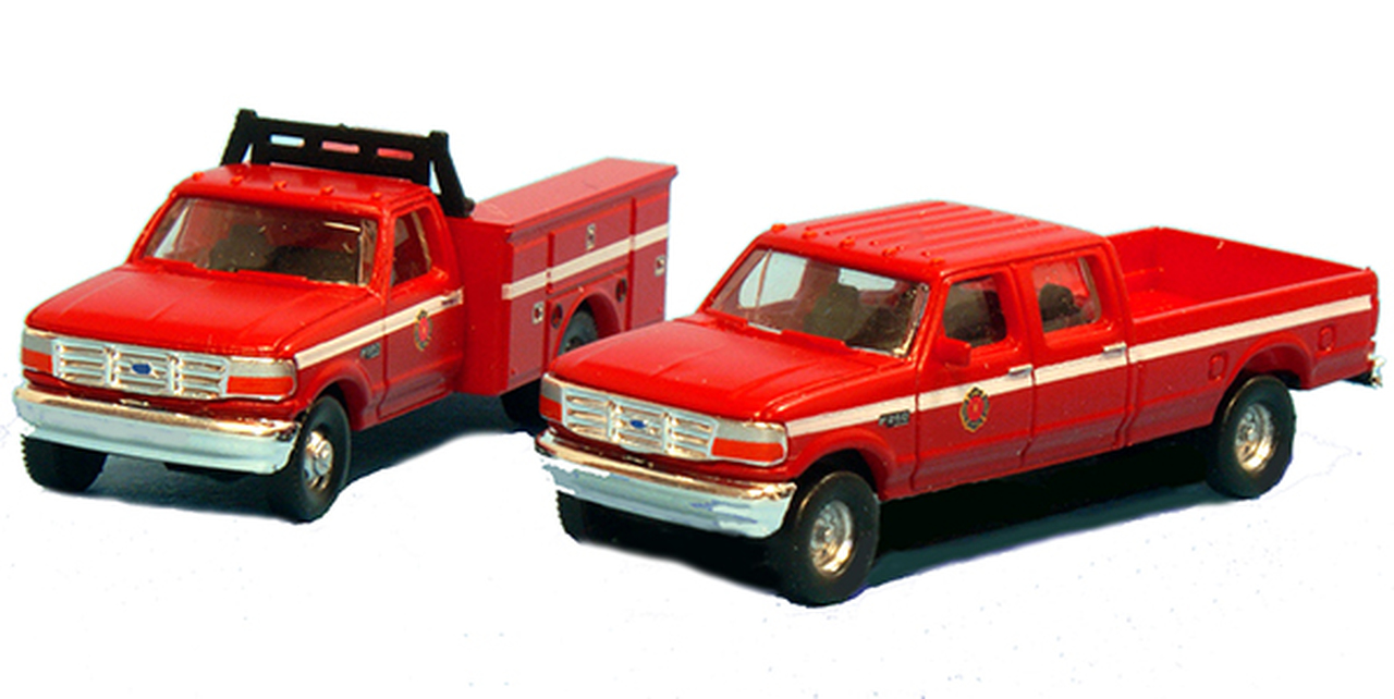 N Scale - River Point - N38-3JL9.R5 - Truck, Ford F-Series - Fire and Rescue - 2-Pack