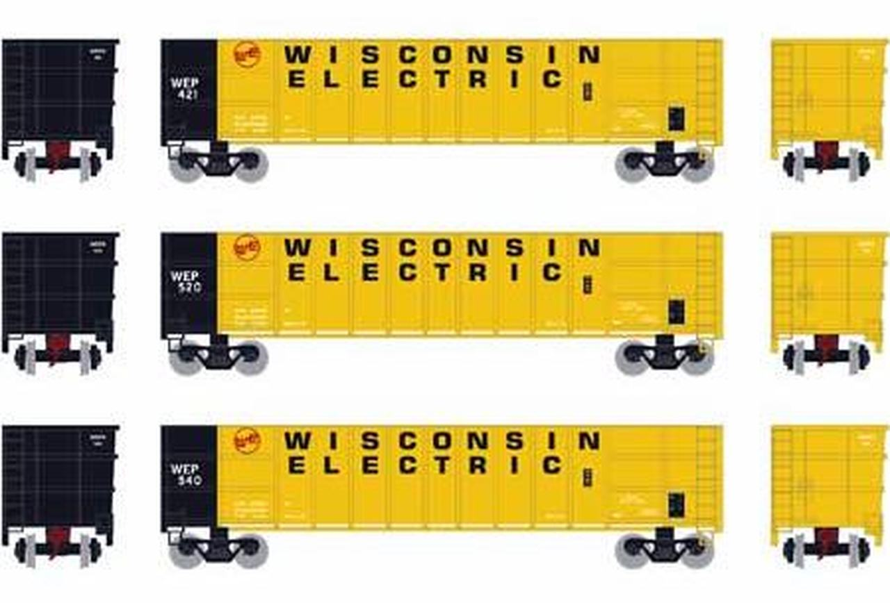 N Scale - Athearn - 5951 - Gondola, 50 Foot, Thrall Hi-Side - Wisconsin Electric - 3-Pack, Set 3
