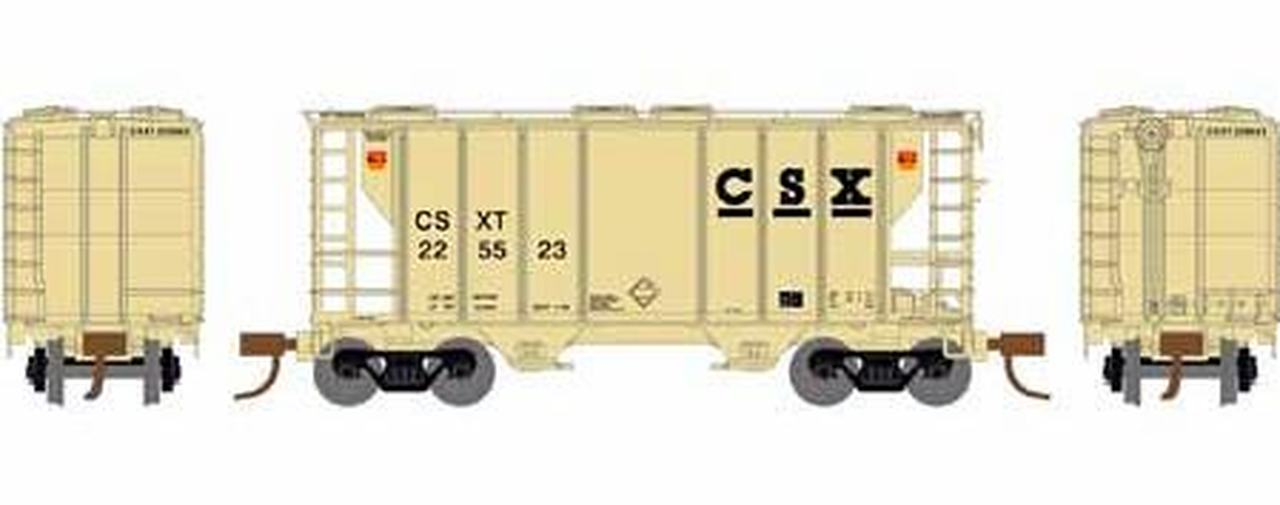 N Scale - Athearn - 16314 - Covered Hopper, 2-Bay, PS2 - CSX Transportation - 225523