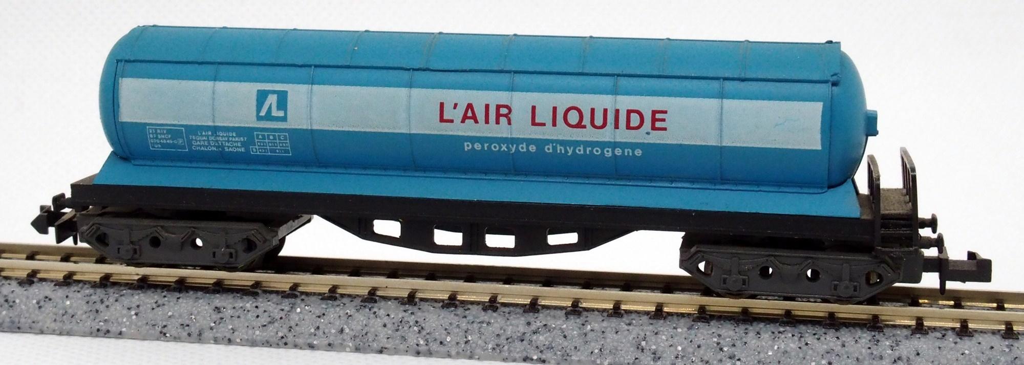 N Scale - Ibertren - 367 - Tank Car, No Dome, Zags Pressurized - Air Liquide - 21 RIV 87 SNCF 070 4849-0