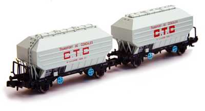 N Scale - N160 - NC24001 - Covered Hopper, 2-Axle, Cereal - SNCF - 2-pack