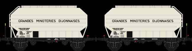 N Scale - N160 - NC24008 - Covered Hopper, 2-Axle, Cereal - SNCF - 2-pack