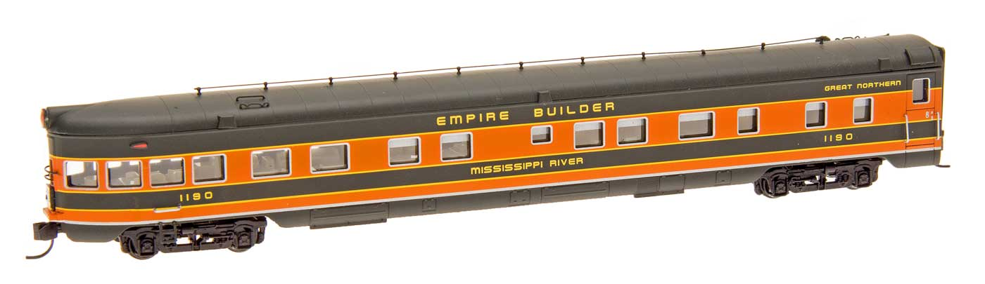 N Scale - Centralia Car Shops - CCS7506-04 - Passenger Car, Lightweight, ACF Observation Lounge - Great Northern - Missouri River