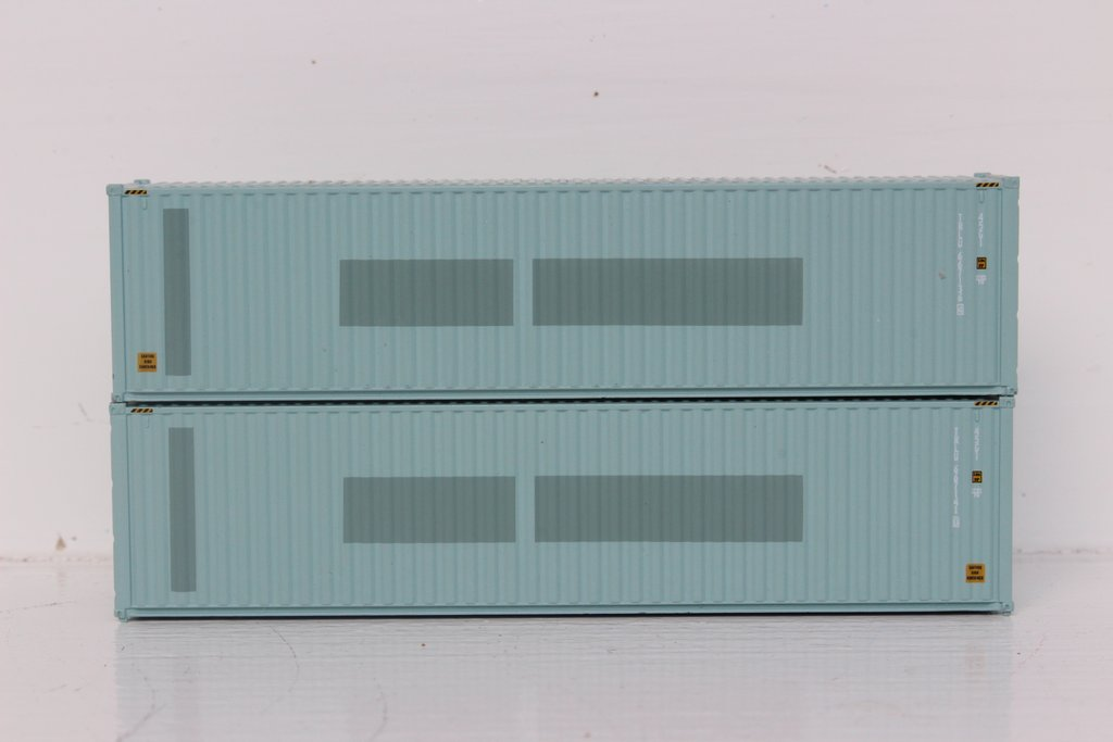 N Scale - Jacksonville Terminal - 405118 - Container, 40 Foot, Hi-Cube - Transamerica Transportation - 2-Pack