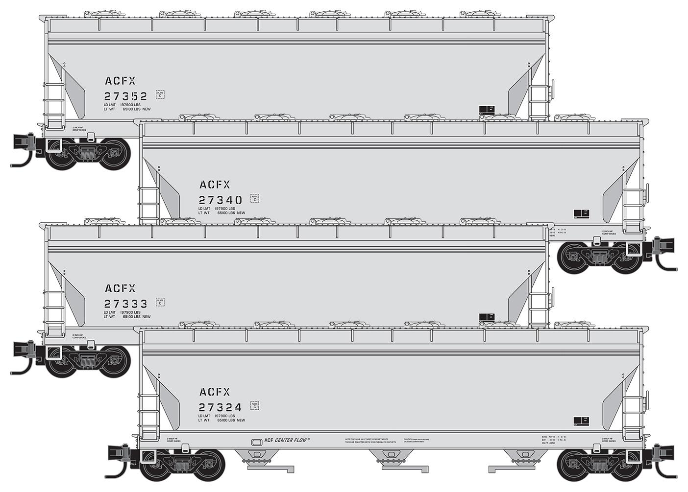 N Scale - Micro-Trains - 993 00 165 - Covered Hopper, 3-Bay, ACF 4650 - American Car & Foundry - 4-Pack