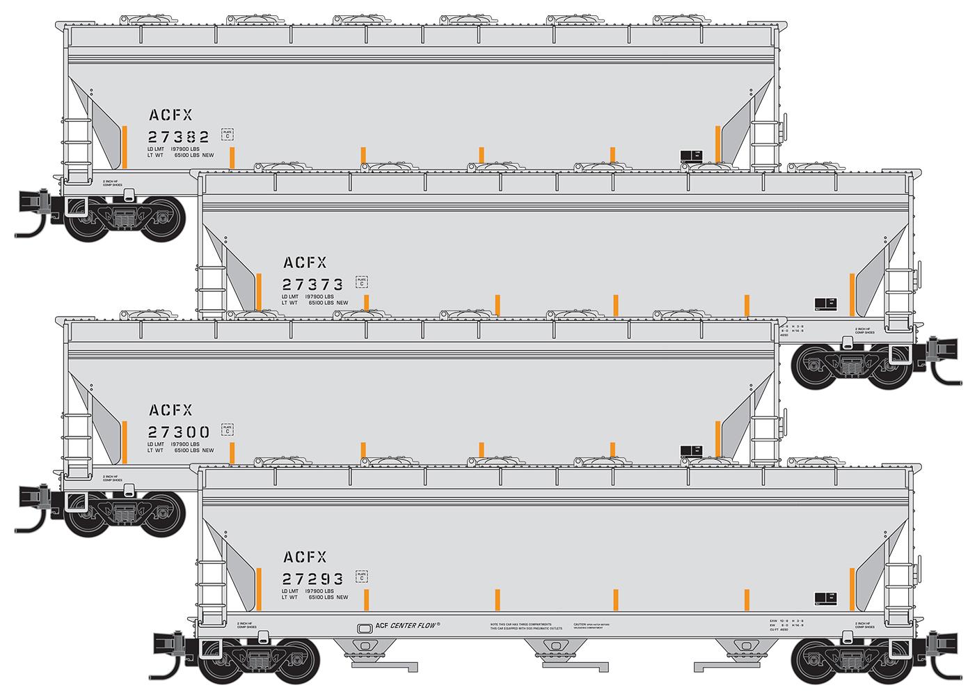 N Scale - Micro-Trains - 993 00 166 - Covered Hopper, 3-Bay, ACF 4650 - American Car & Foundry - 4-Pack