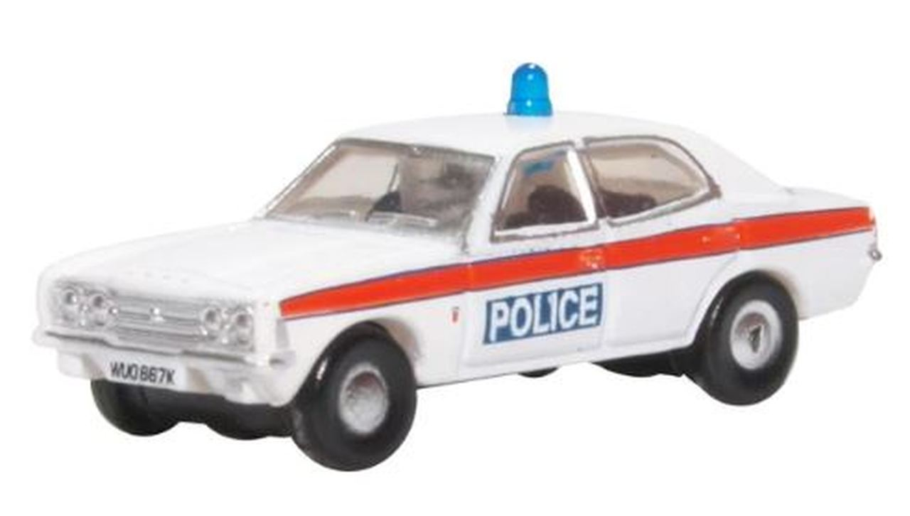 N Scale - Oxford Diecast - NCOR3004 - Automobile, Ford, Cortina - Police Dept - WUO 867K