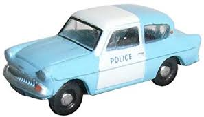 N Scale - Oxford Diecast - N105003 - Automobile, Ford, Anglia - Police Dept - SUB 197E