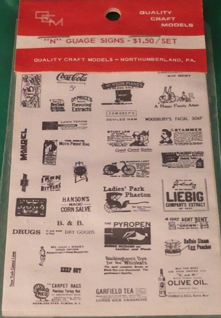 N Scale - Quality Craft Models - 183 - Period Signage - Undecorated