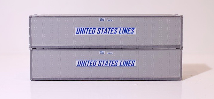 N Scale - Jacksonville Terminal - 405667 - Container, 40 Foot, Smoothside, Dry - United States Lines - 4154998, 4155000