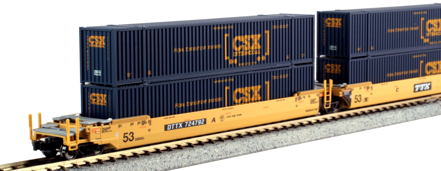 N Scale - Kato USA - 106-6175 - Container Car, Articulated Well, Gunderson Maxi-Stack IV - TTX Trailer Train - 724792