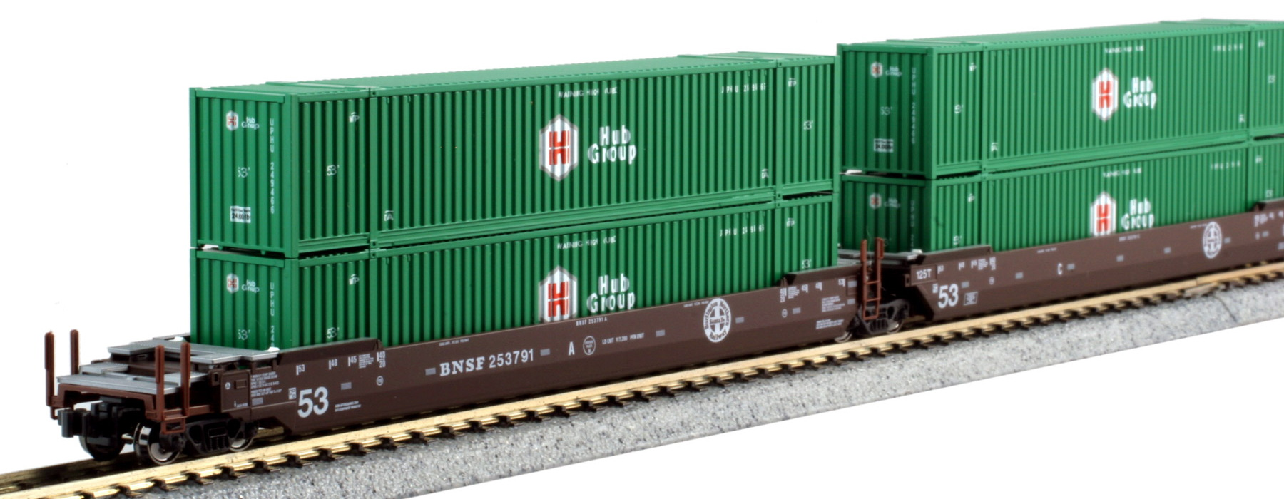 N Scale - Kato USA - 106-6177 - Container Car, Articulated Well, Gunderson Maxi-Stack IV - Burlington Northern Santa Fe - 253791