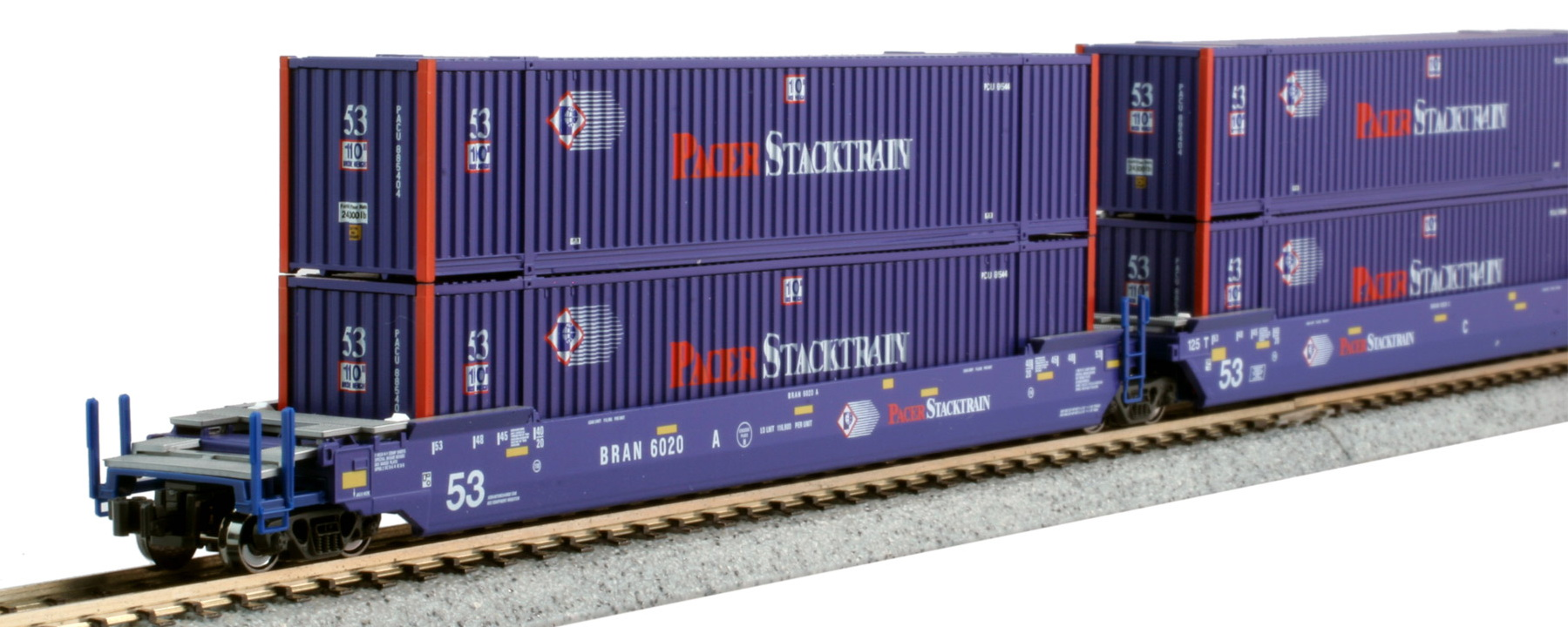 N Scale - Kato USA - 106-6179 - Container Car, Articulated Well, Gunderson Maxi-Stack IV - Pacer StackTrain - 6020