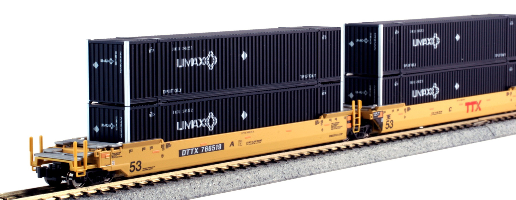 N Scale - Kato USA - 106-6176 - Container Car, Articulated Well, Gunderson Maxi-Stack IV - TTX Trailer Train - 766519