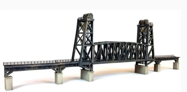 N Scale - Custom Model Railroads - 027 - Vertical Lift Bridge Single Track  - Railroad Structures - Vertical Lift Bridge Single Track