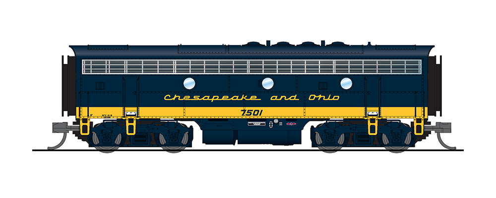 N Scale - Broadway Limited - R3803 - Locomotive, Diesel, EMD F7 - Chesapeake & Ohio - 7002, 7501