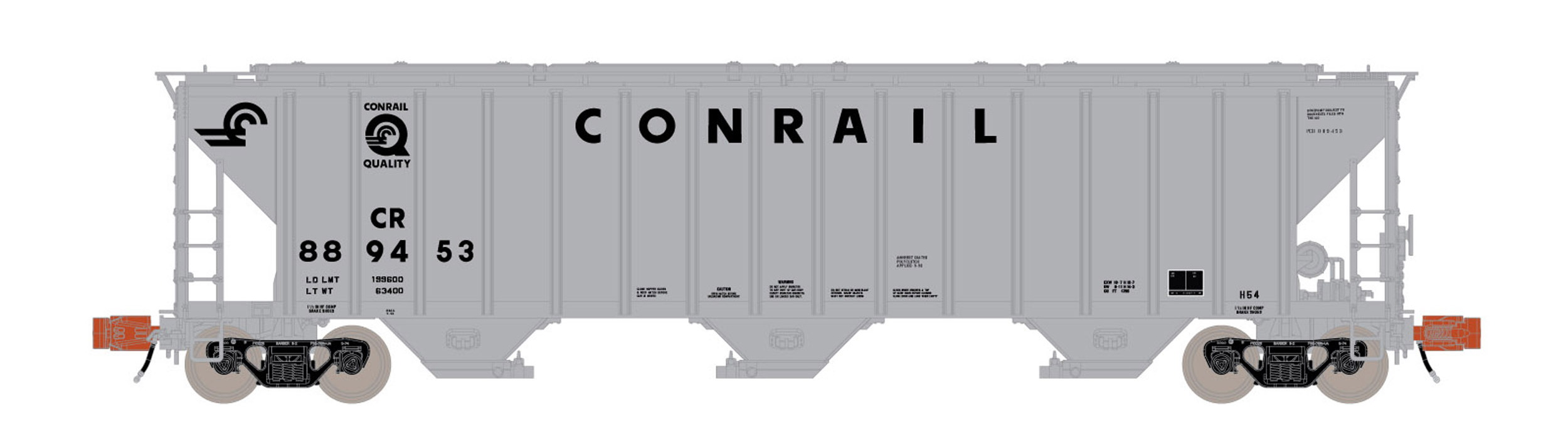 N Scale - ScaleTrains.com - SXT31822 - Covered Hopper, 3-Bay, PS-2 - Conrail - 889453