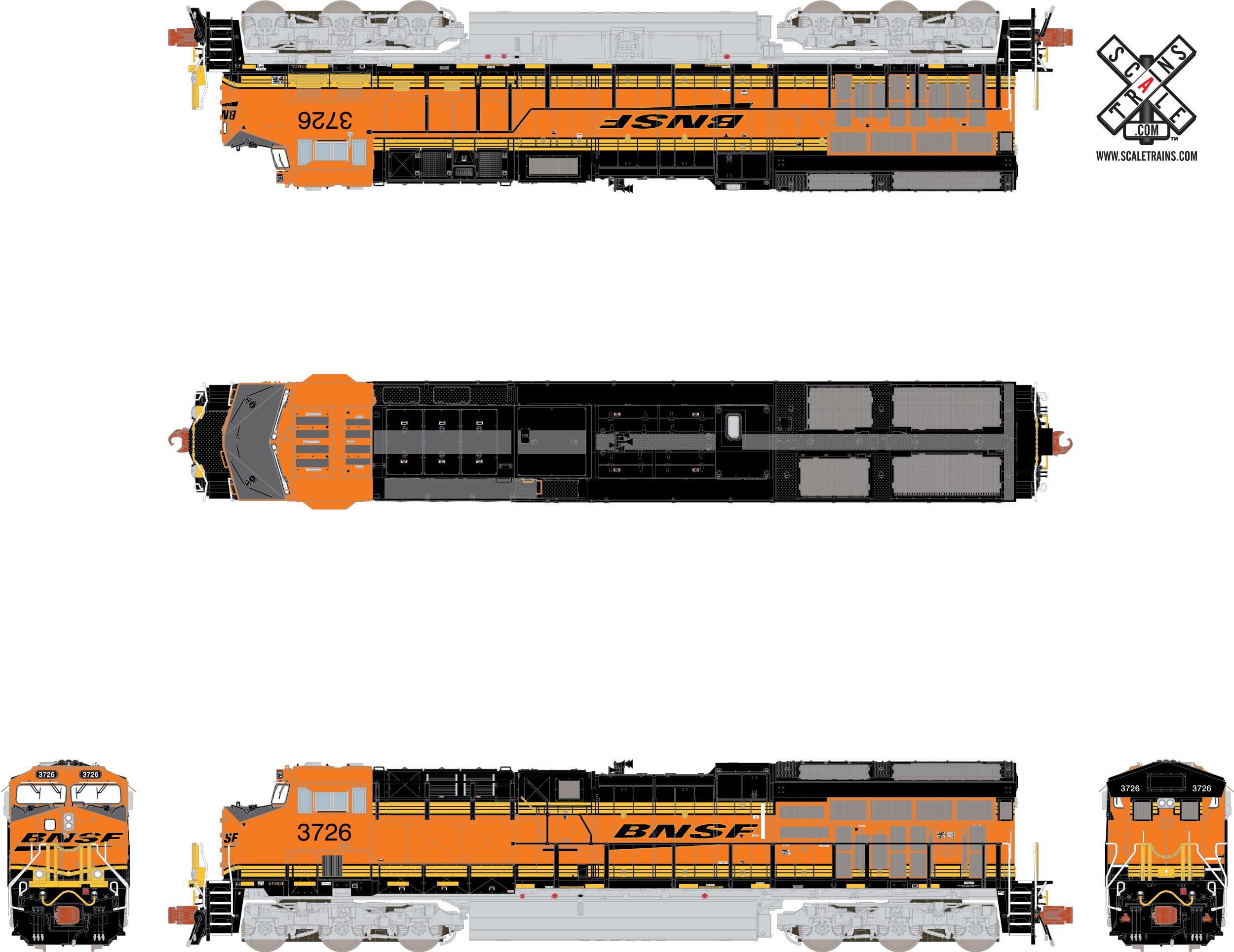 N Scale - ScaleTrains.com - SXT32006 - Locomotive, Diesel, GE GEVO - Burlington Northern Santa Fe - 3726