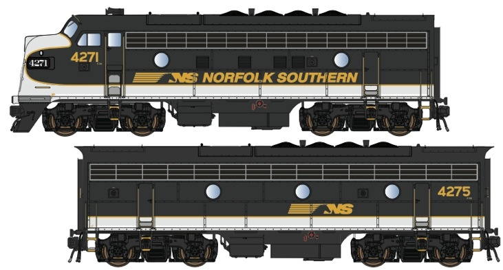 N Scale - Lowell Smith - OCS NS Power Set 1 - Locomotive, Diesel, EMD F7 - Norfolk Southern - 4271, 4275