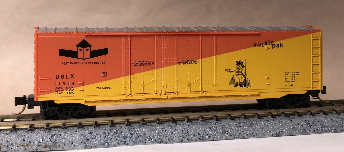 N Scale - Micro-Trains - NSC 94-21A - Boxcar, 50 Foot, FMC, 5077 - Fort Vancouver Plywood - 11994