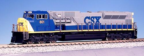 N Scale - Kato USA - 176-5504 - Locomotive, Diesel, EMD SD80MAC - CSX Transportation - 801