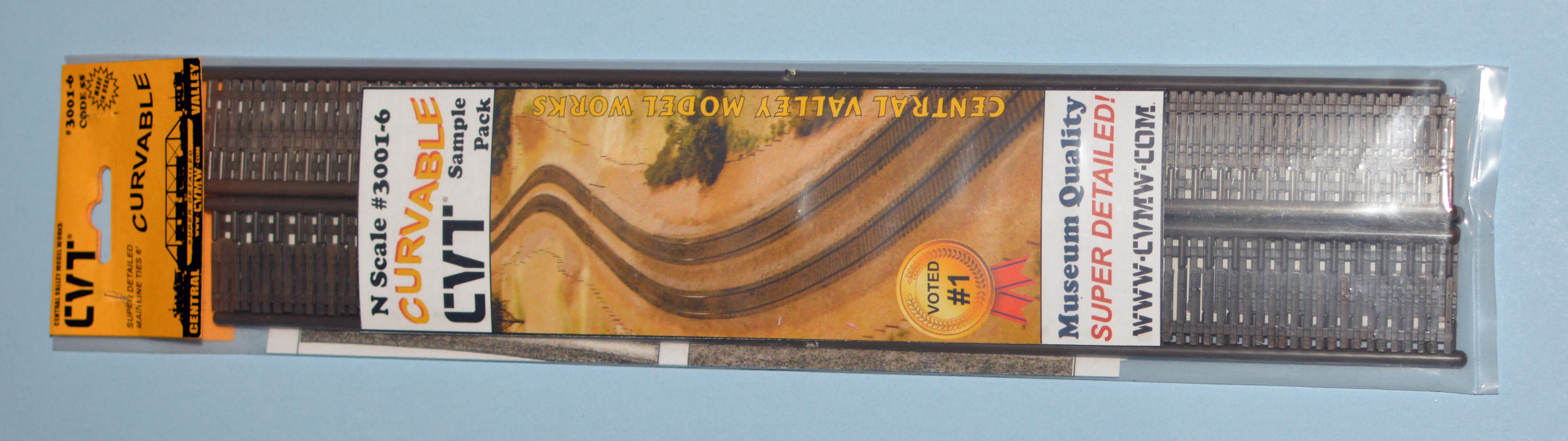N Scale - Central Valley Model Works - 3001-6 - Wooden ties, Single - Track, N Scale