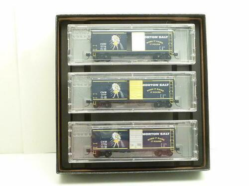 N Scale - Micro-Trains - NSE MTL 19-278 - Boxcar, 40 Foot, PS-1 - Morton Salt - 3-Pack