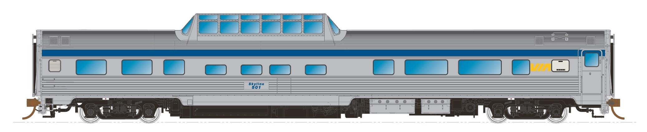 N Scale - Rapido Trains - 550110 - Passenger Car, Budd, Cafe-Bar-Lounge - Via Rail Canada