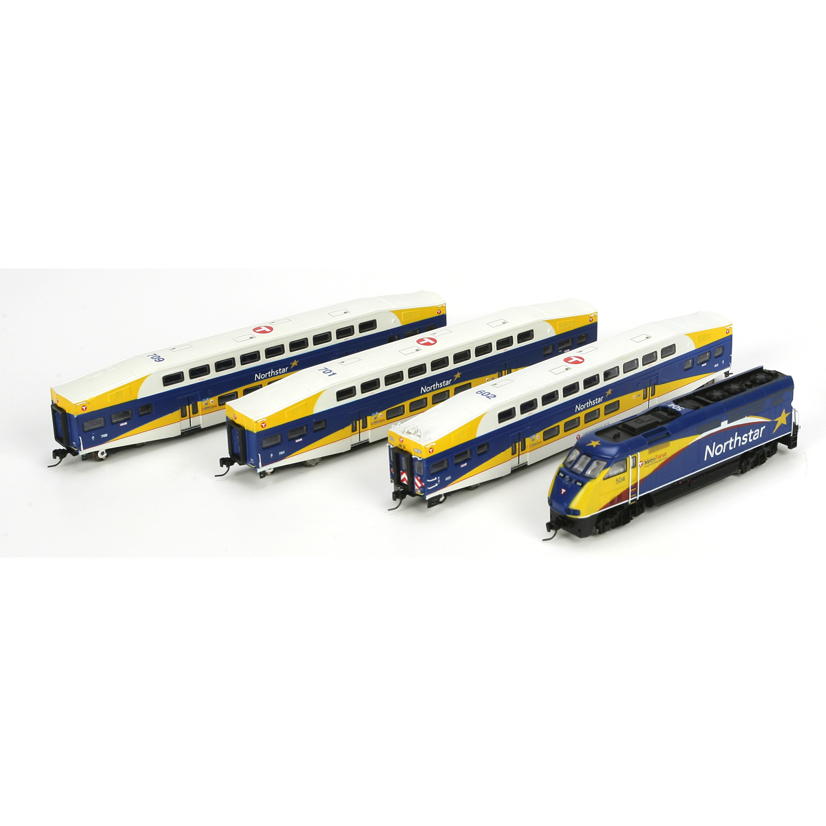 N Scale - Athearn - 25983 - Passenger Car, Commuter, Bombardier Multi-Level - Northstar Commuter - 4 numbers