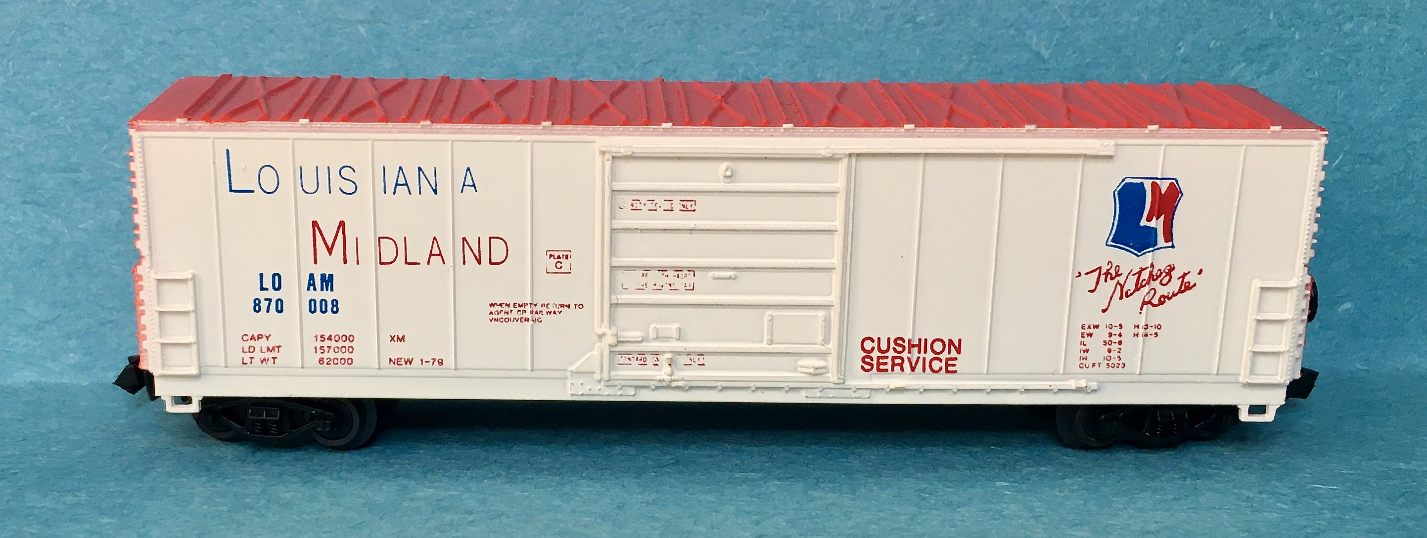 N Scale - Bev-Bel - 4469 - Boxcar, 50 Foot, Evans 5277 - Louisiana Midland - 870008