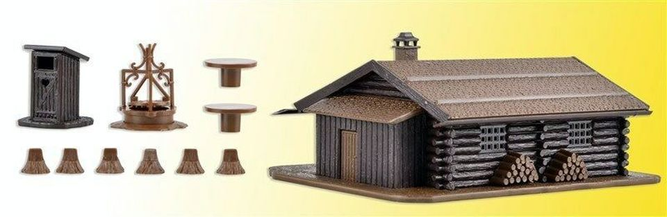 N Scale - Vollmer - 47727 - Log Cabin - Residential Structures - Log Cabin Kit with BBQ Pit