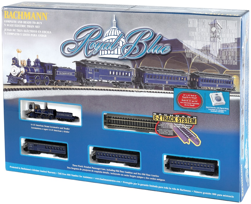 N Scale - Bachmann - 24018 - Passenger Train, Steam, North American, Old Time - Baltimore & Ohio - Royal Blue