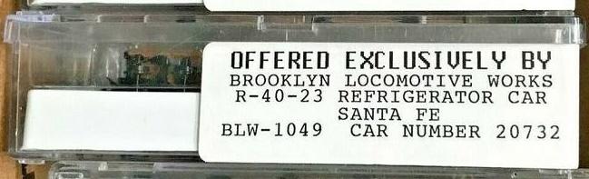 N Scale - Brooklyn Locomotive Works - BLW-1049-C - Reefer, 40 Foot, R-40-23 - Santa Fe - 20732