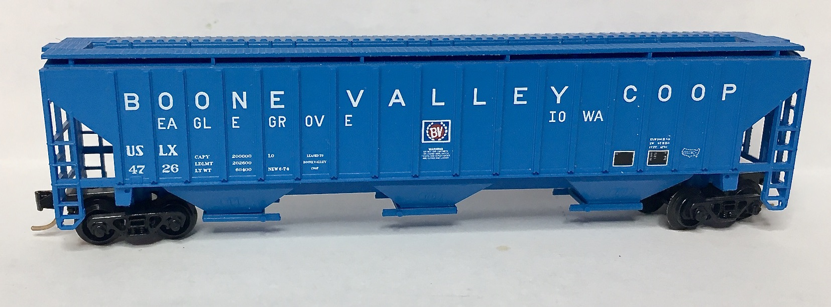 N Scale - Red Caboose - RN-15606-(  ) - Covered Hopper, 3-Bay, PS2-CD 4750 - Boone Valley Coop - 4726