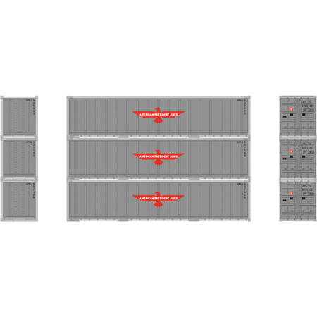N Scale - Athearn - 17701 - Container, 40 Foot, Smoothside, Dry - APL Logistics - 3-Pack
