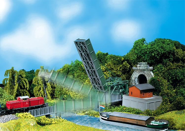 N Scale - Faller - 222584 - Lift Bridge - Railroad Structures - Lifting Bridge with Drive