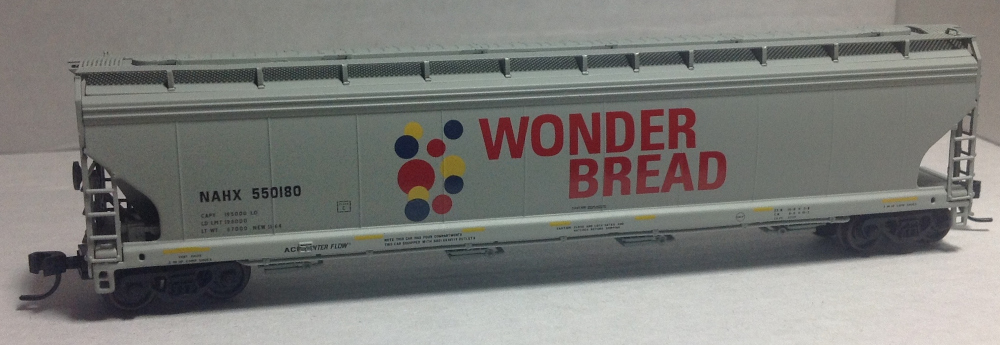 N Scale - N Scale Enthusiast - NSC_WB550180 - Covered Hopper, 4-Bay, ACF 5748/5800 - Wonder Bread - Hostess - 550180