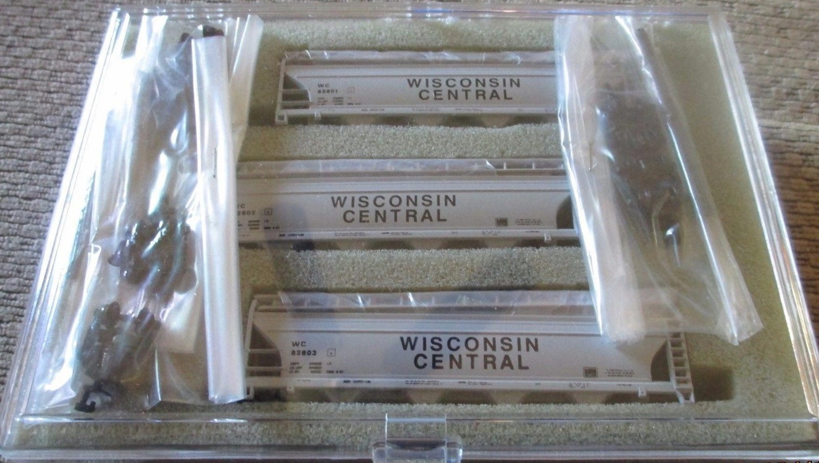 N Scale - N Hobby Distributing - 57 - Covered Hopper, 4-Bay, ACF Centerflow - Wisconsin Central - 82801, 82802, 82803