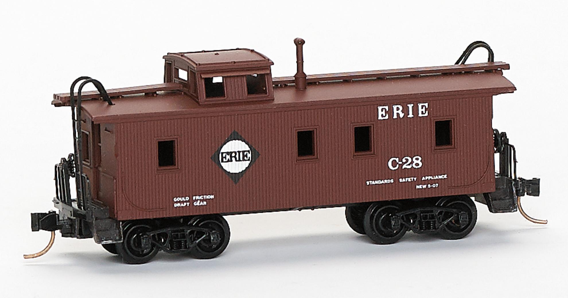 N Scale - Brooklyn Locomotive Works - BLW-113 - Caboose, Cupola, Wood - Erie - C-28