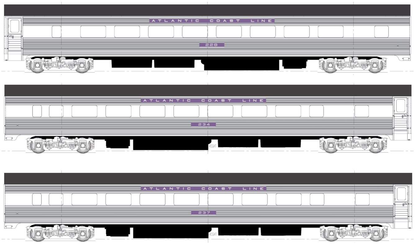 N Scale - RailSmith - 550321-3 - Passenger Car, Lightweight, Pullman, Coach, 64-Seat - Atlantic Coast Line - 3-Pack