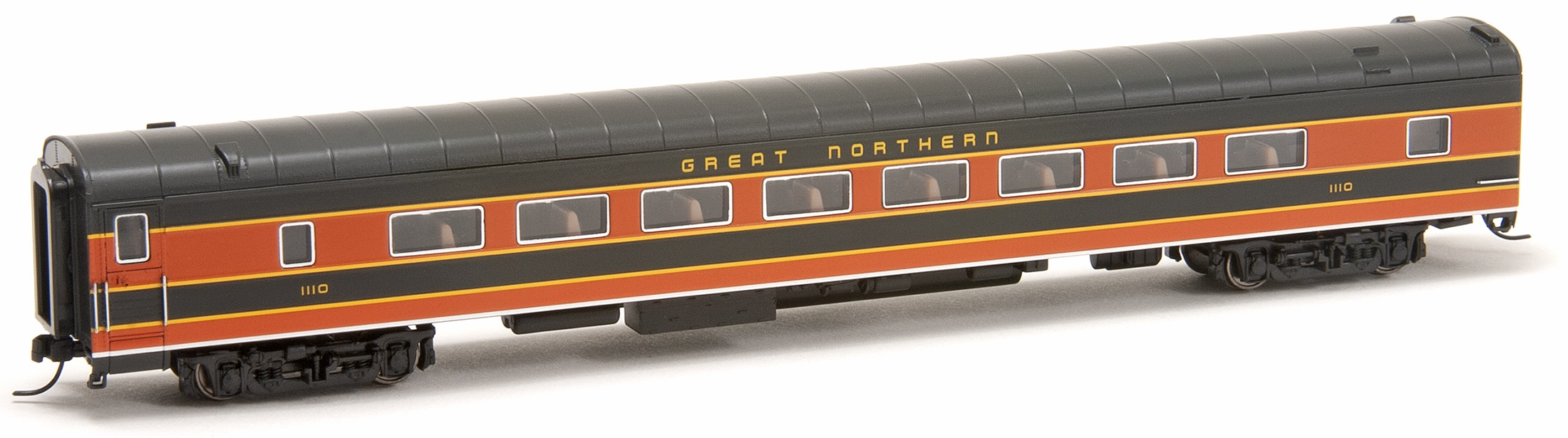 N Scale - RailSmith - 5501818 - Passenger Car, Lightweight, Pullman, Coach, 64-Seat - Great Northern - 1110