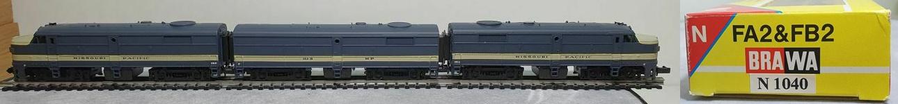 N Scale - Brawa - 1040 - Locomotive, Diesel, Alco FA/FB - Missouri Pacific - 352,  352 B, 353