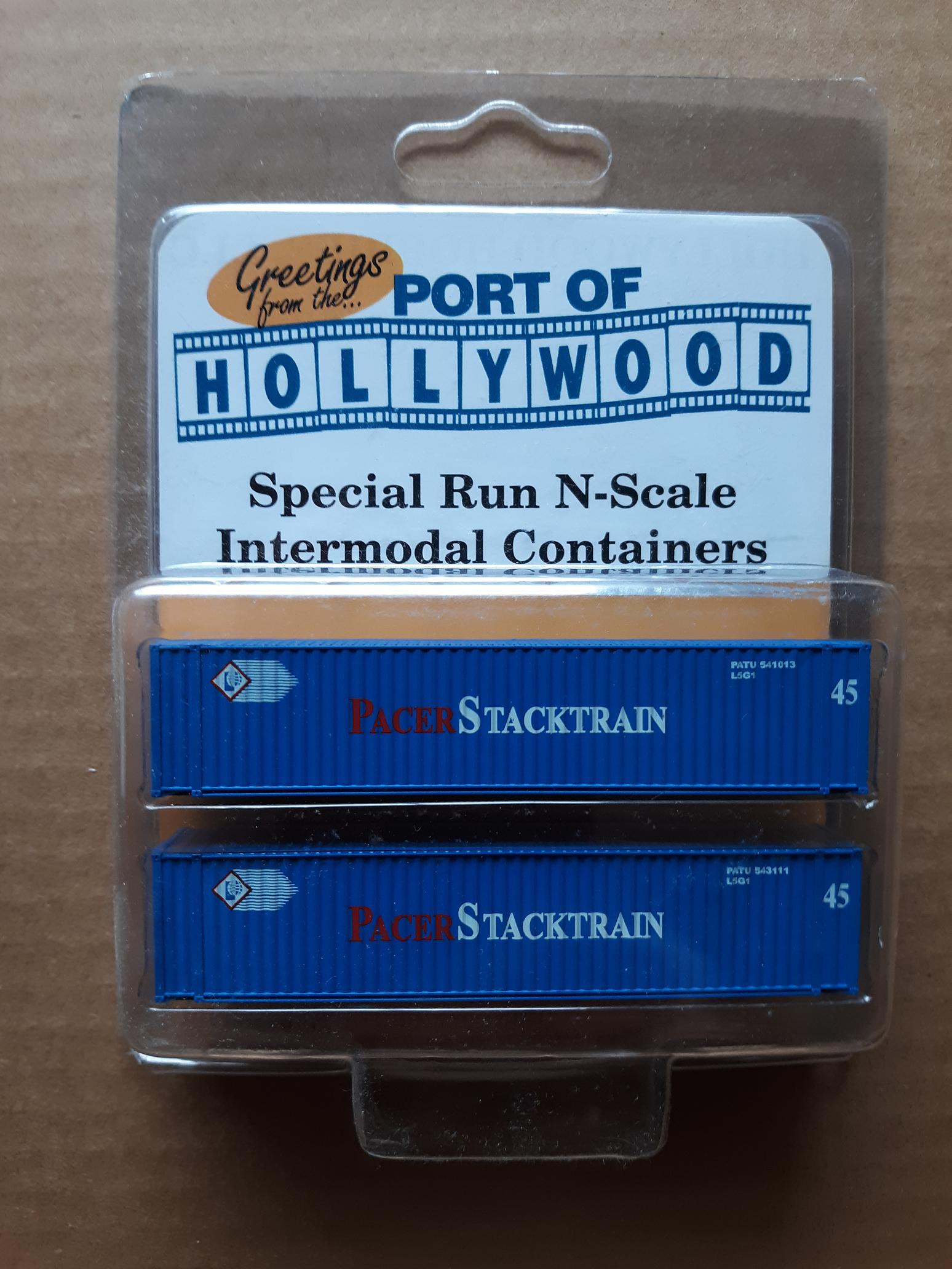 N Scale - Port of Hollywood - Pacer Stacktrain - Container, 45 Foot - Pacer StackTrain - 541013, 543111