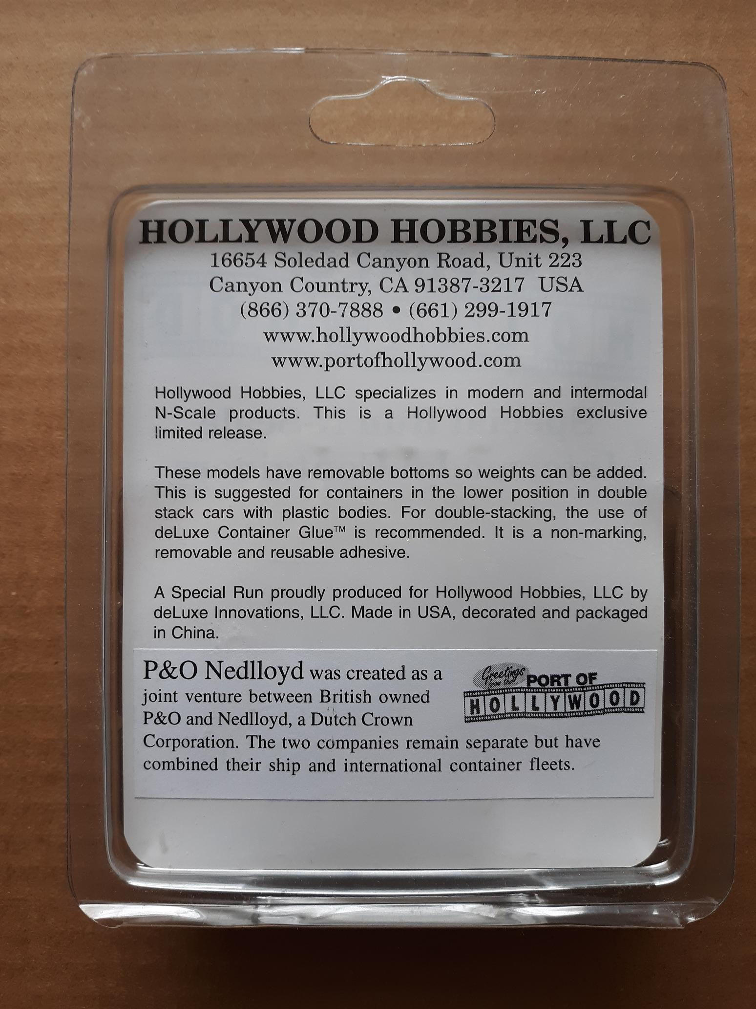N Scale - Port of Hollywood - P&O Nedlloyd - Container, 40 Foot, Corrugated, Dry - P&O - 241850, 759101