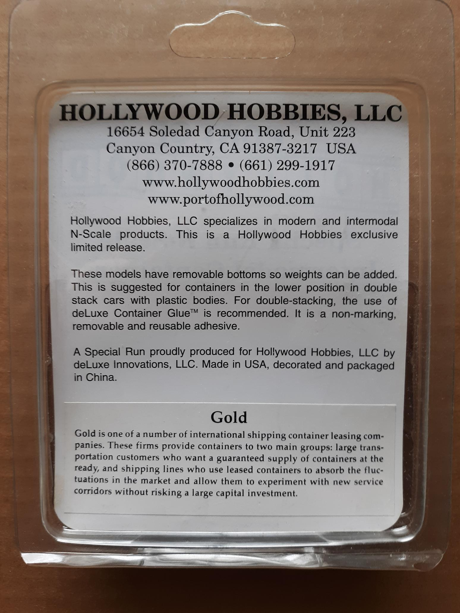 N Scale - Port of Hollywood - Gold - Container, 40 Foot, Corrugated, Dry - Gold Container - 418918, 418976