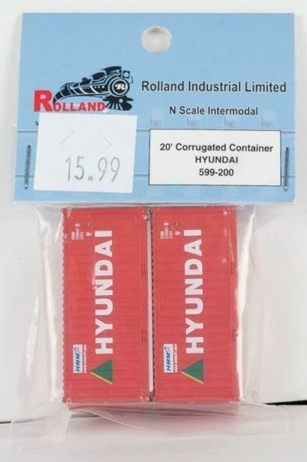 N Scale - Rolland - 599-200 - Container, 20 Foot, Corrugated, Dry - Hyundai - 240487 9