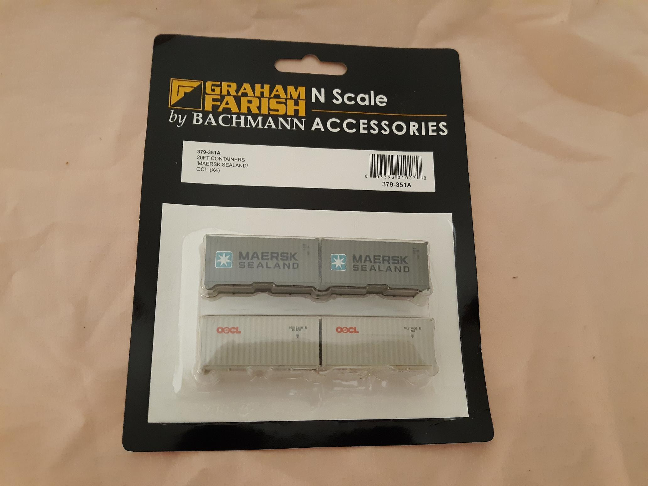 N Scale - Graham Farish - 379-351A - Container, 20 Foot, Corrugated, Dry - Various - 4 numbers