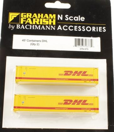N Scale - Graham Farish - 379-373 - Container, 45 Foot - DHL - 2 numbers
