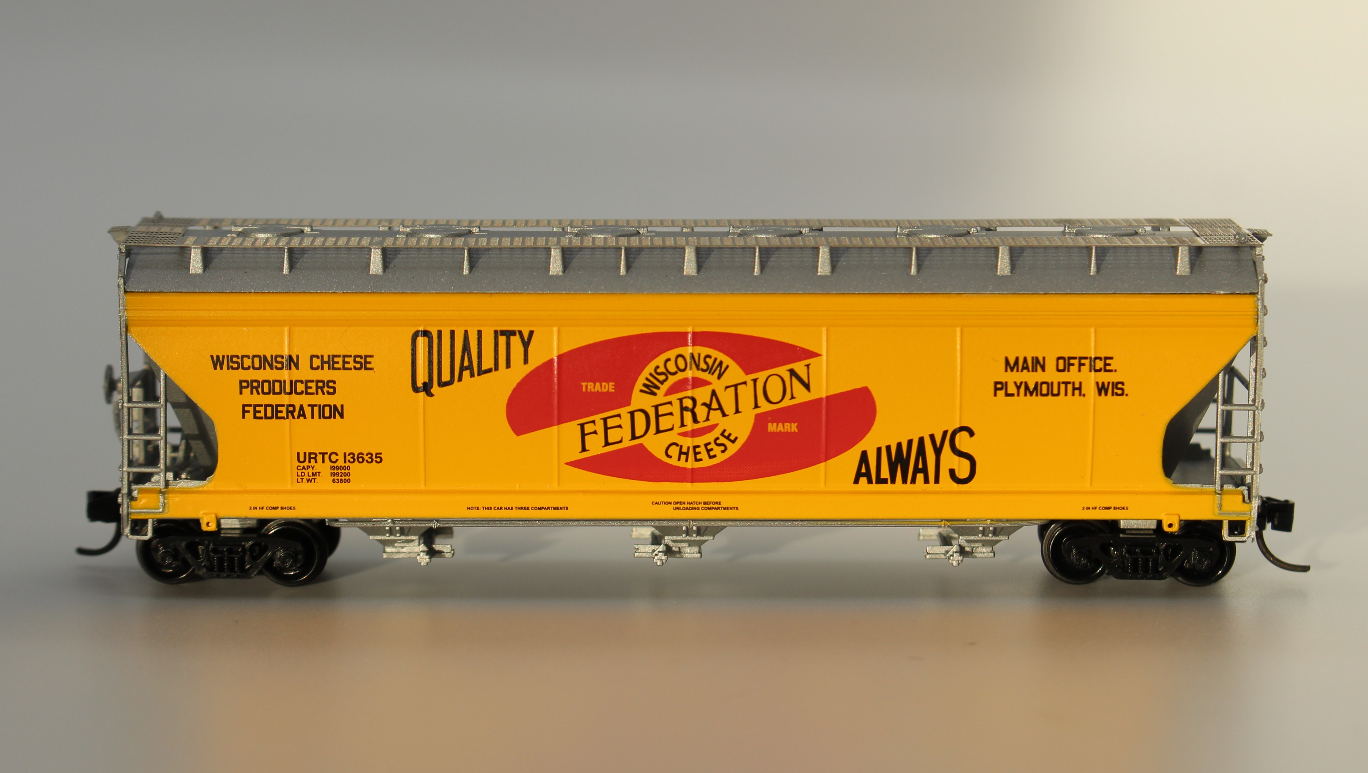 N Scale - InterMountain - NSE INT 13-62 - Covered Hopper, 3-Bay, ACF 4650 - Wisconsin Cheese Producers Federation - 13635